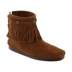 Minnetonka Suede Fringe Back-Zip Concho Ankle Boot